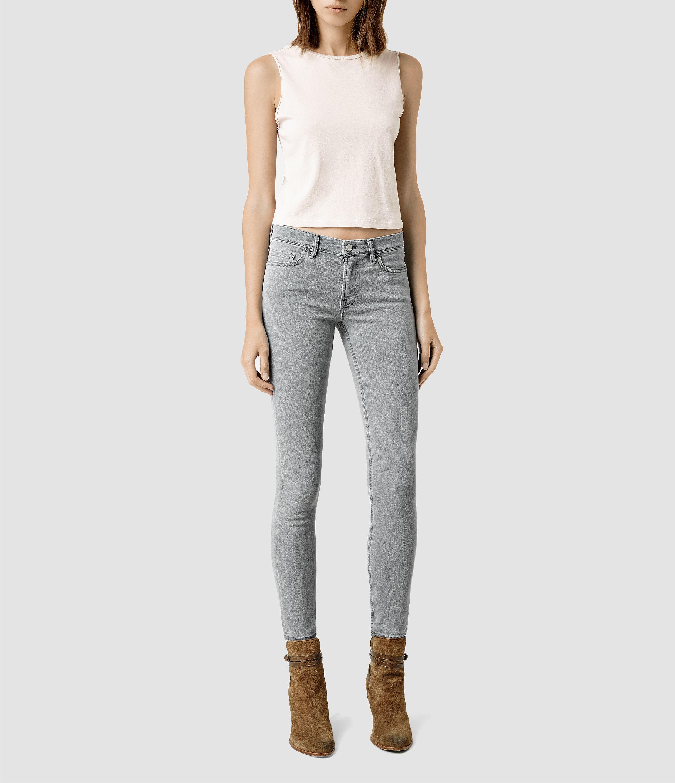 lyst  allsaints mast jeans  light grey in gray
