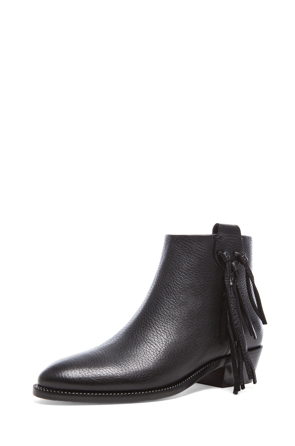 valentino fringe grained leather ankle boots in black lyst