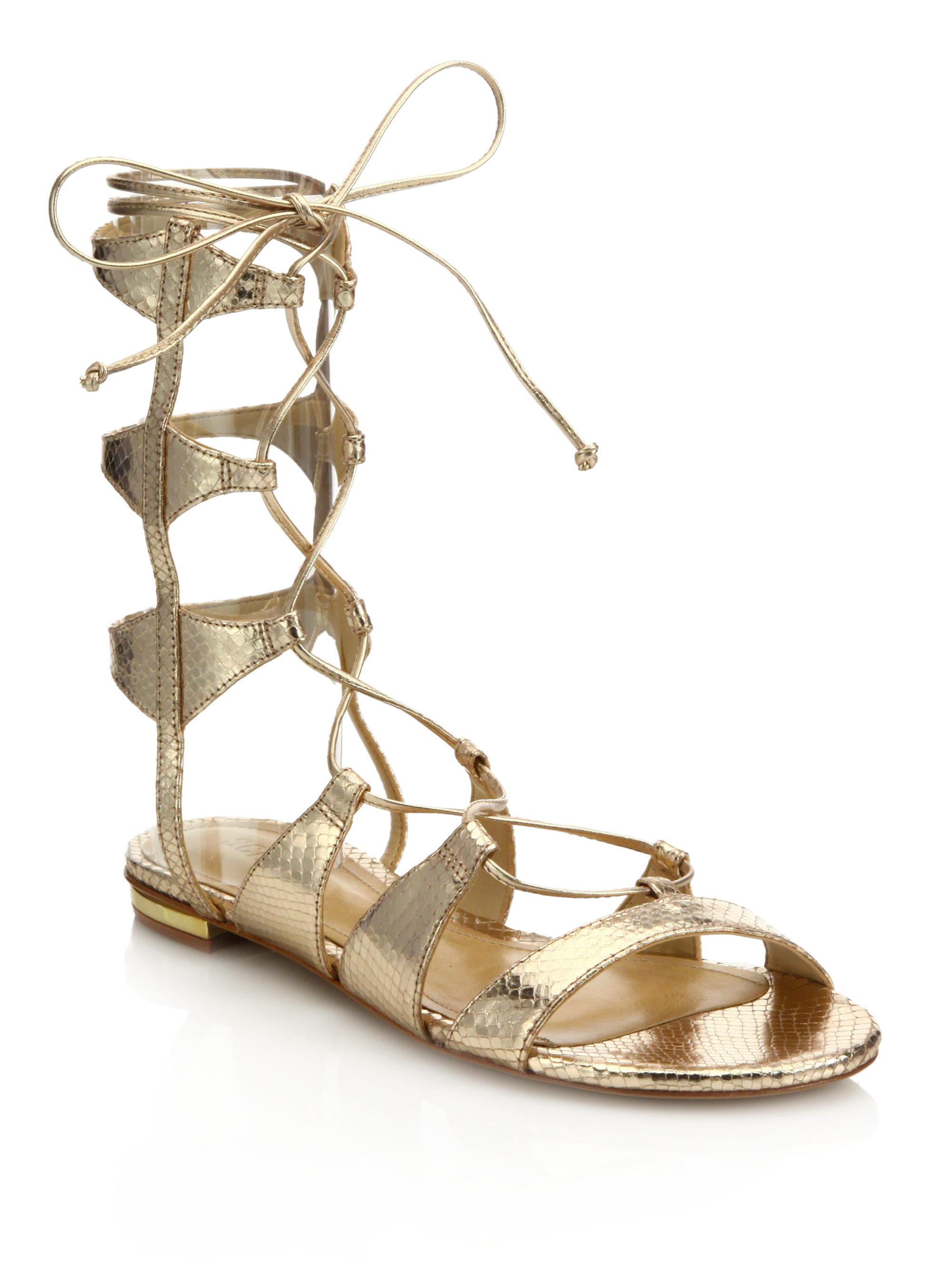 Lyst Schutz Erlina Metallic Leather Gladiator Sandals In