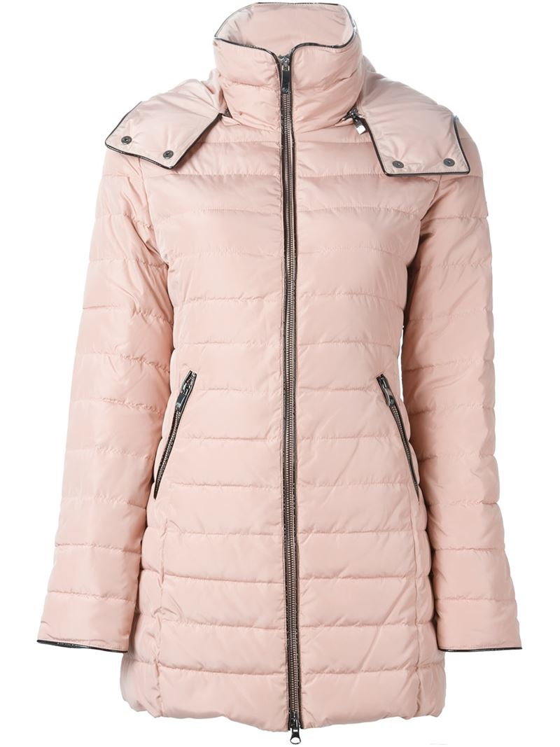 Armani jeans Hooded Padded Coat in Pink | Lyst