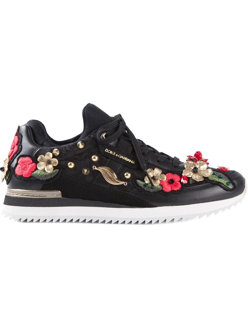 dolce gabbana floral embellished leather sneakers in black lyst. Black Bedroom Furniture Sets. Home Design Ideas