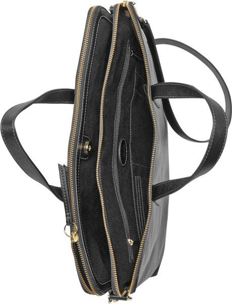Fossil Sydney Leather Work Bag In Black | Lyst