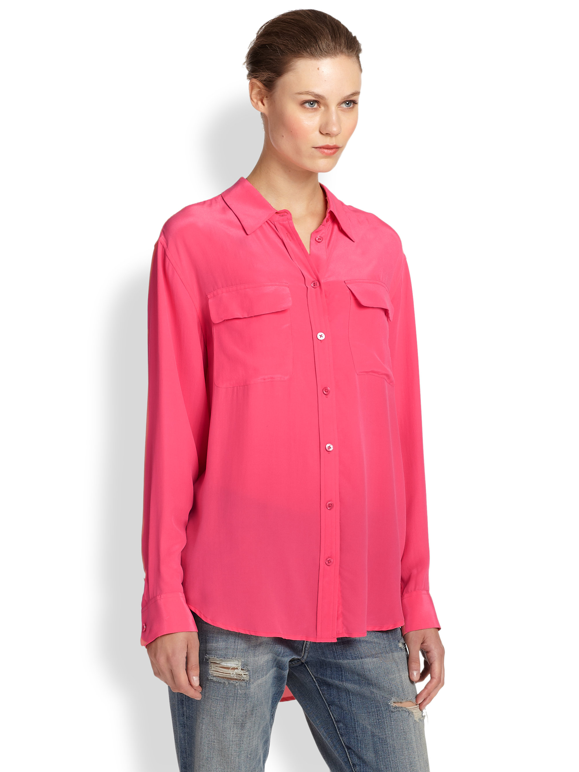 Lyst equipment signature silk shirt in red for Equipment signature silk shirt