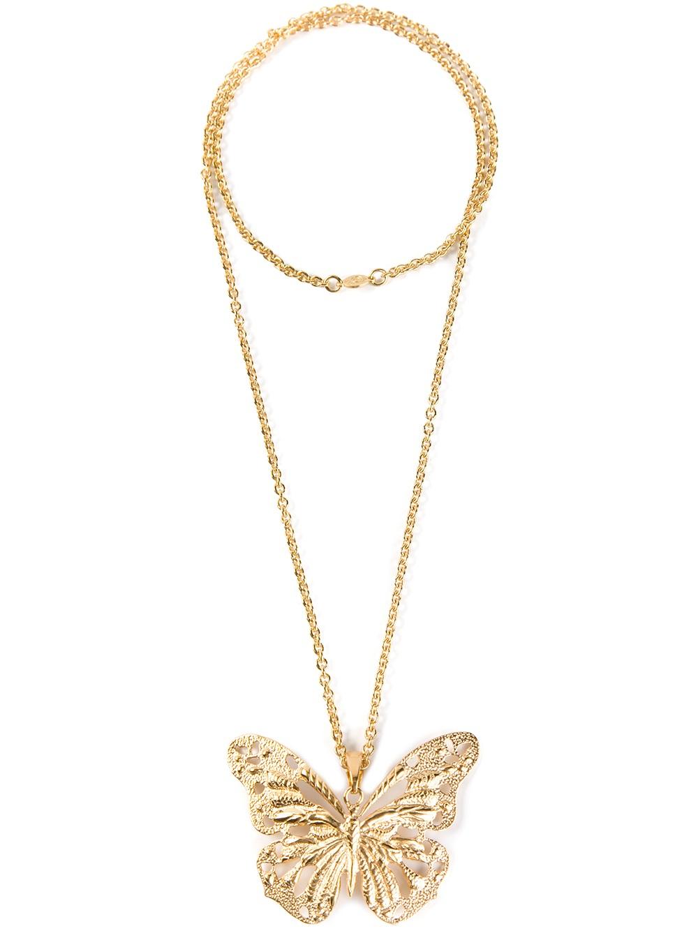 320b22aae Alexander McQueen Butterfly Necklace in Metallic - Lyst