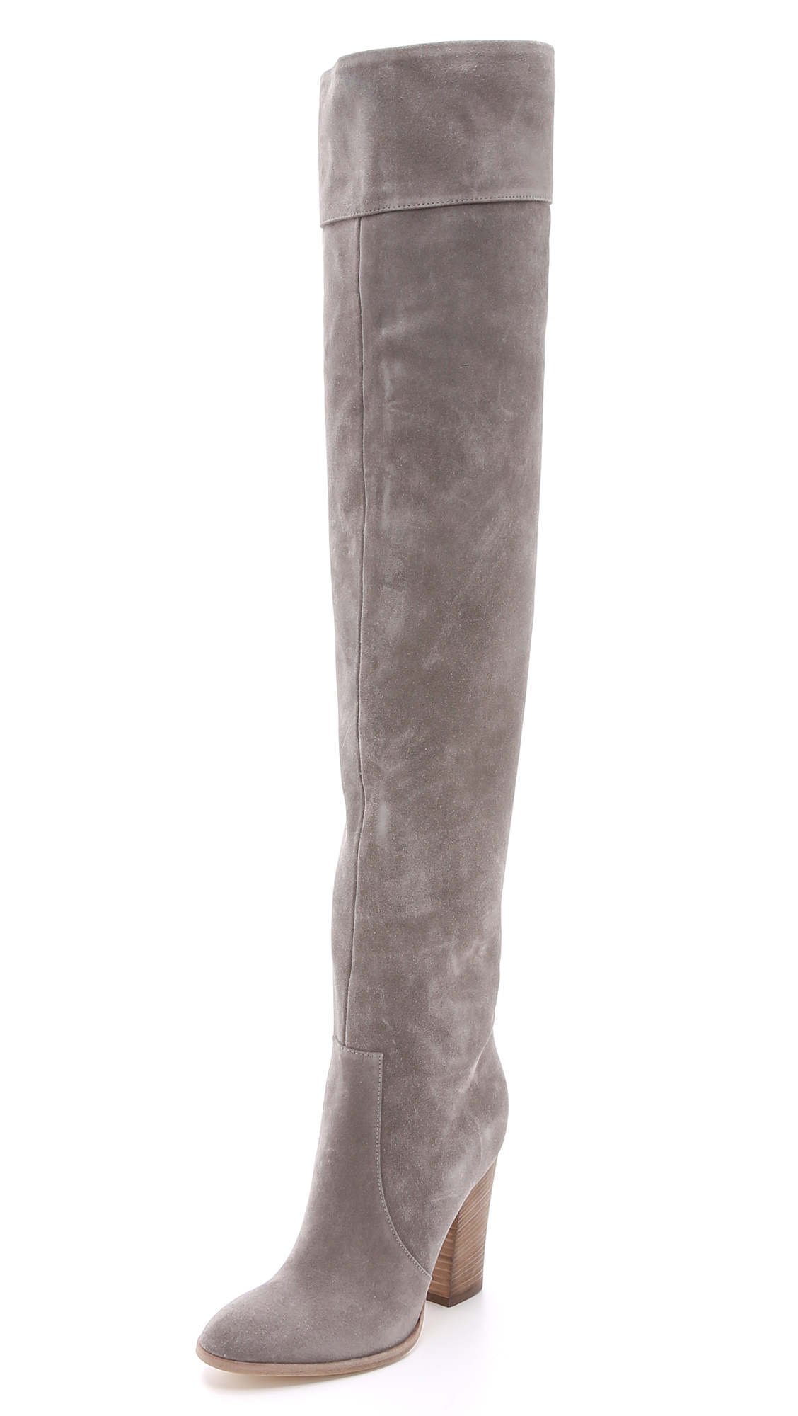 Club monaco Lisa Over The Knee Suede Boots - Grey in Gray | Lyst