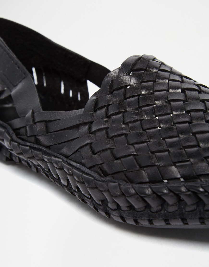 78ee5edbd97 ASOS Black Woven Sandals In Leather for men