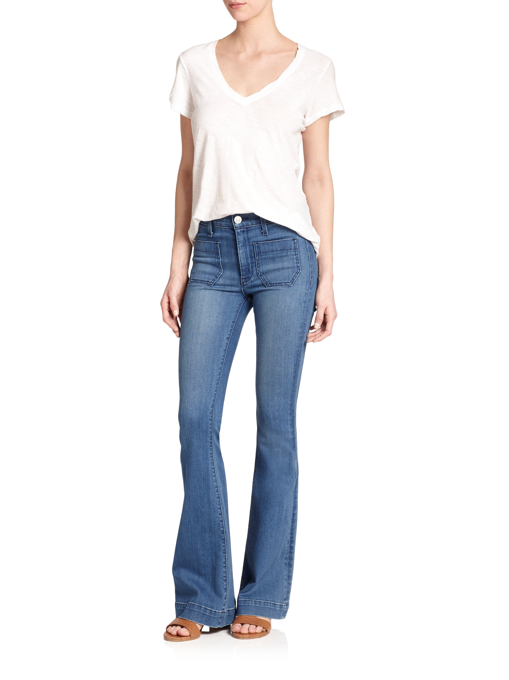 Hudson jeans Taylor High-waist Flared Jeans in Blue | Lyst