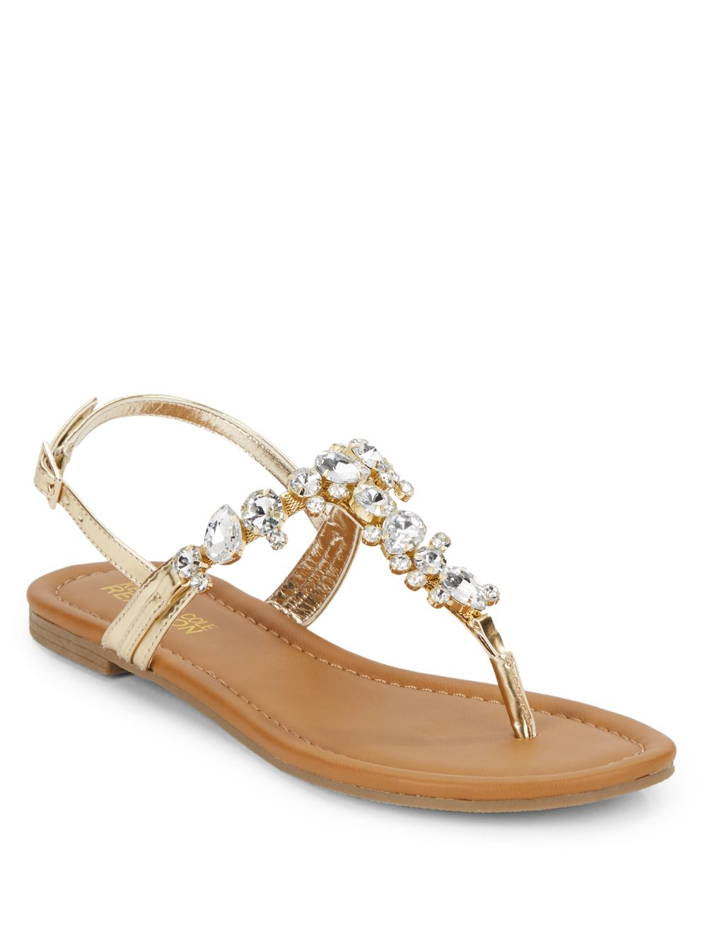 3db472bfbf4f8a Lyst - Kenneth Cole Reaction Drag Fire Jeweled Sandals in Metallic
