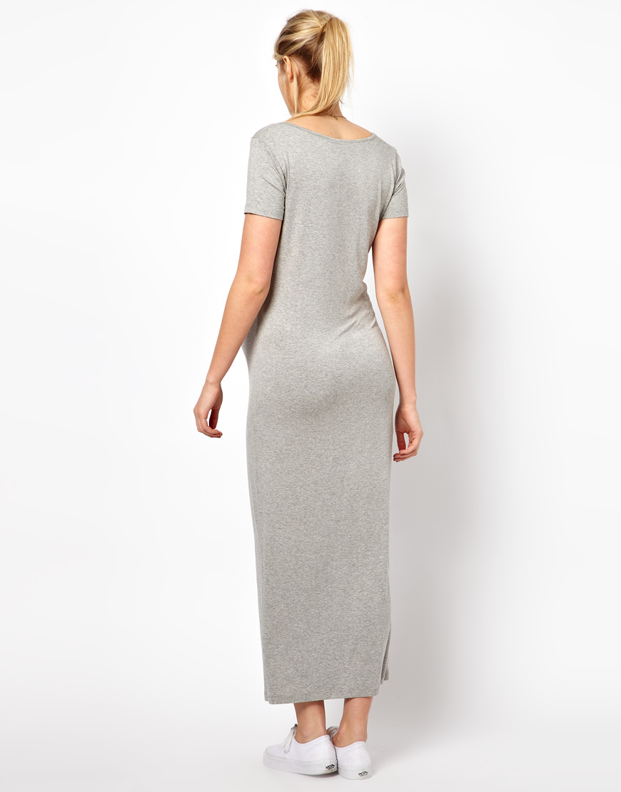 Lyst Asos Maxi Dress With T Shirt Sleeve In Black