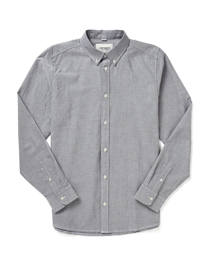 Carhartt long sleeve button down shirt in black for men lyst for Mens black button down shirt