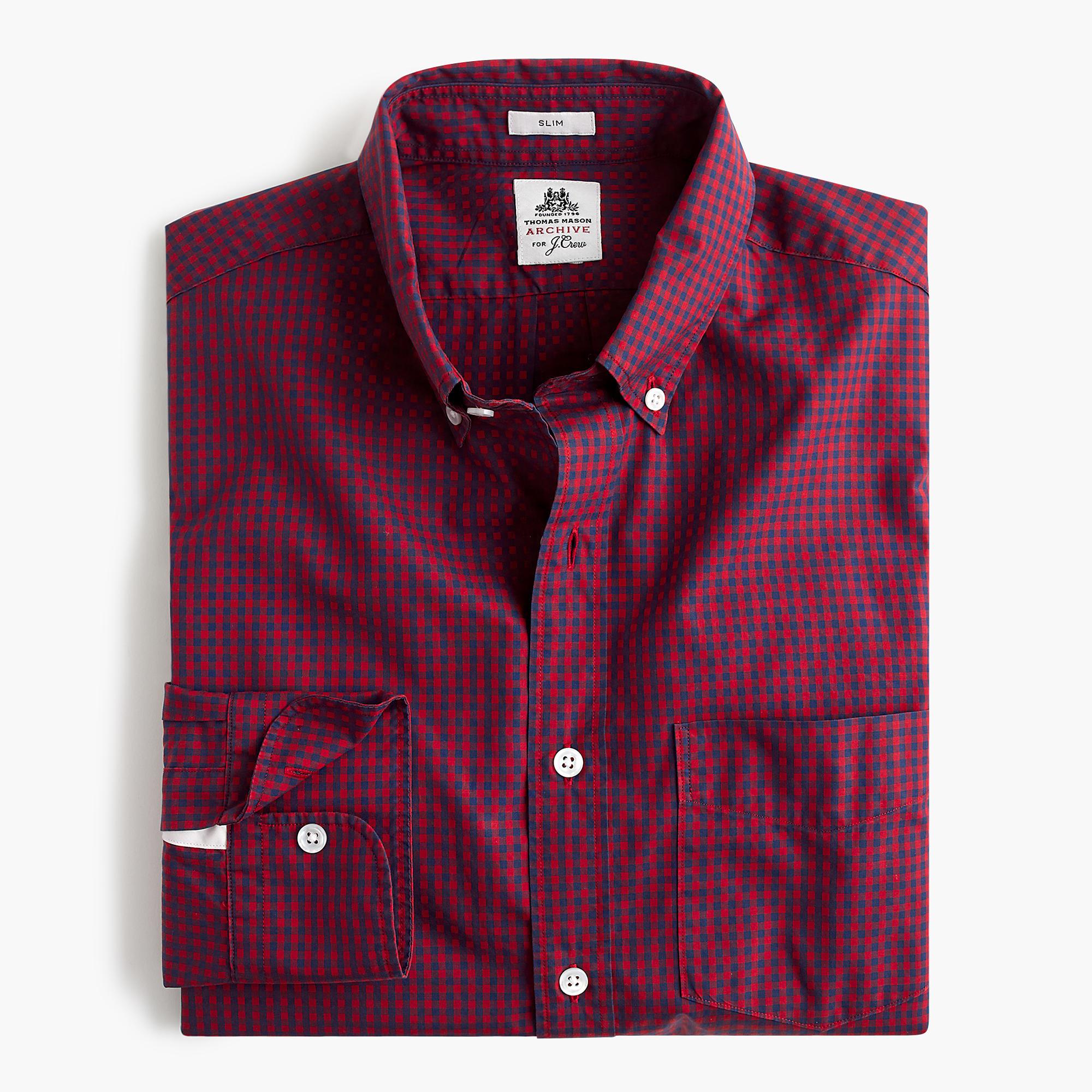 Slim thomas mason shirt in danbury red gingham in for Thomas mason dress shirts