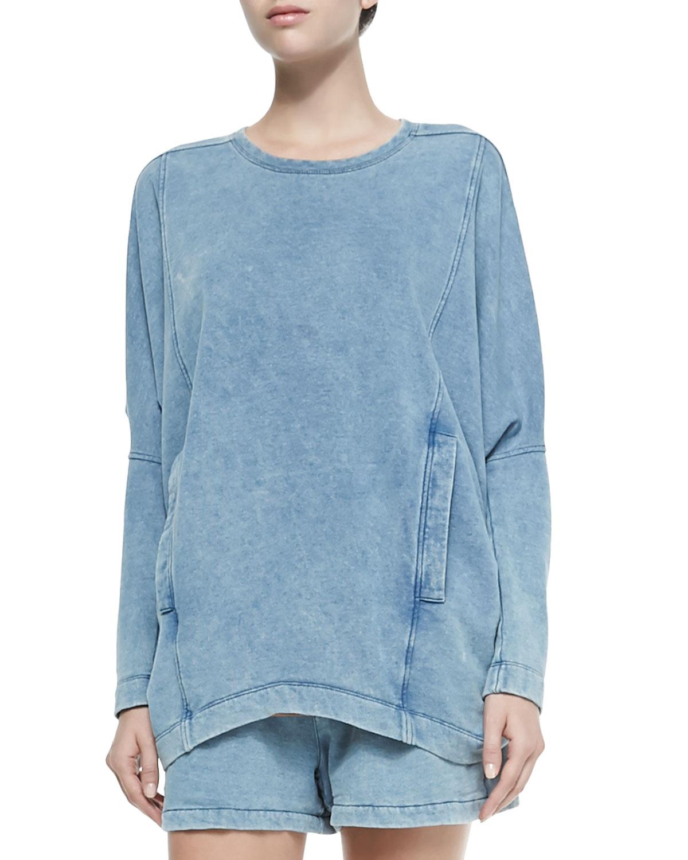 Helmut lang denim dropped sleeve sweatshirt w pockets in - Sweatshirt kleid lang ...