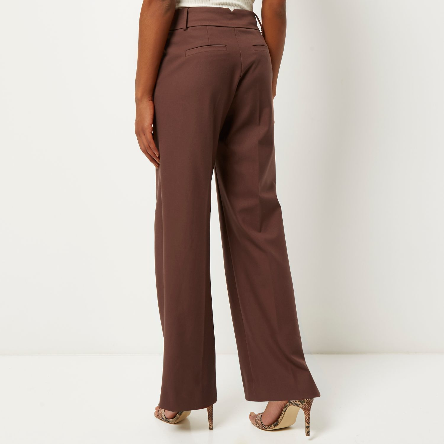River Island Brown Wide Leg Trousers In Brown Lyst