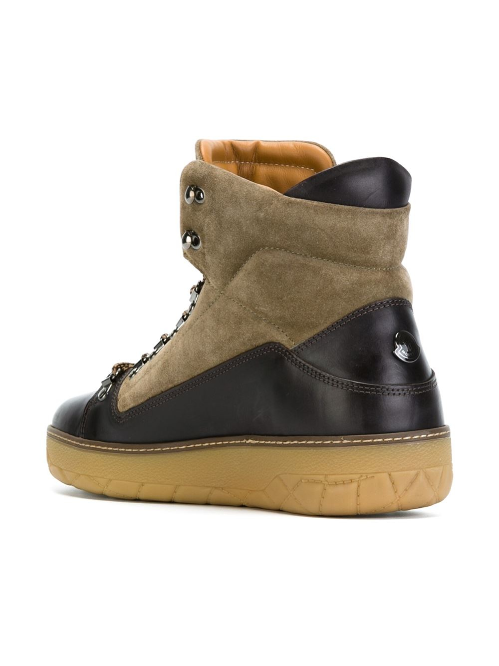 moncler egide leather and suede boots in brown for lyst
