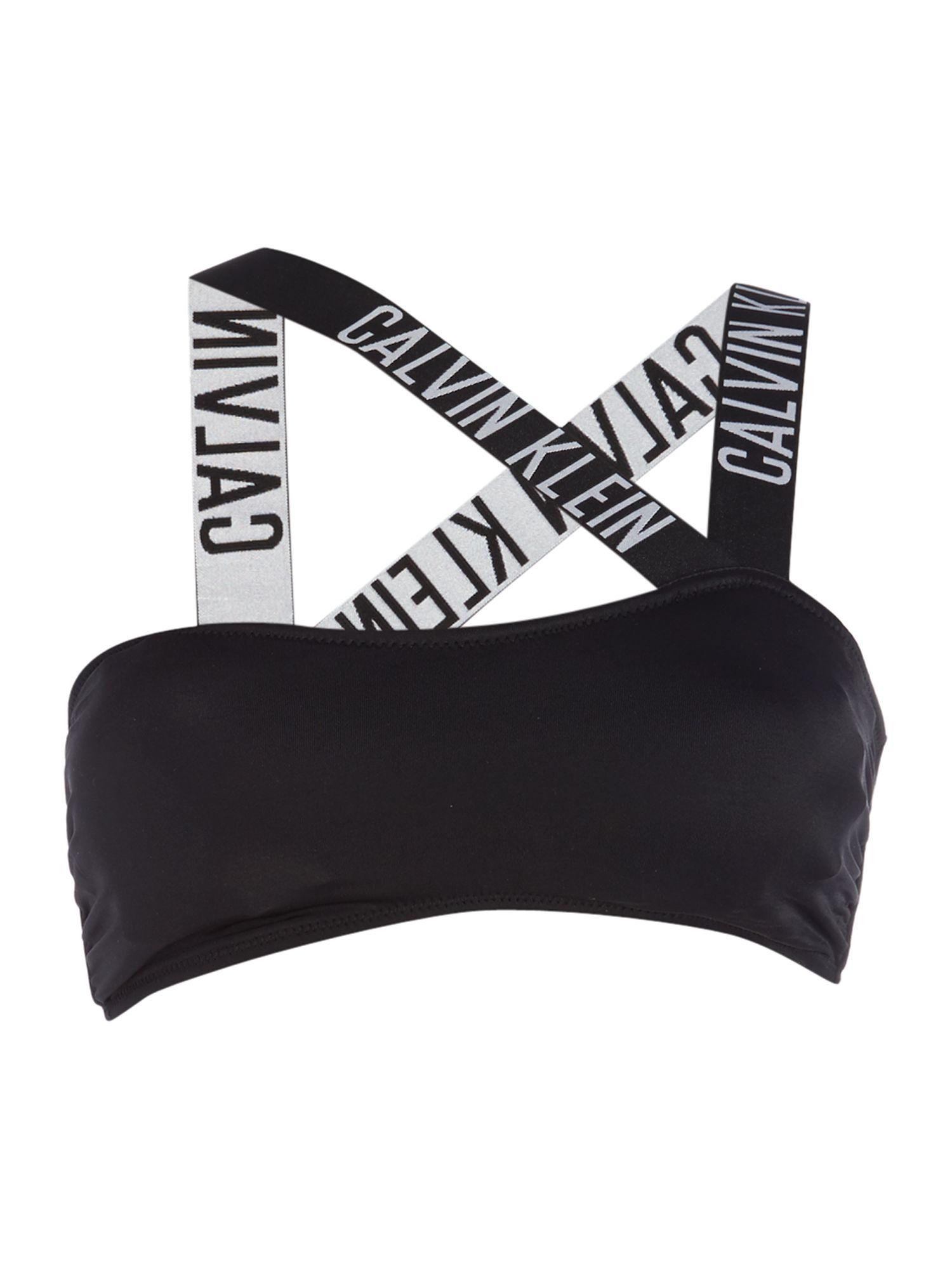 calvin klein intense power v bandeau bikini top in black. Black Bedroom Furniture Sets. Home Design Ideas