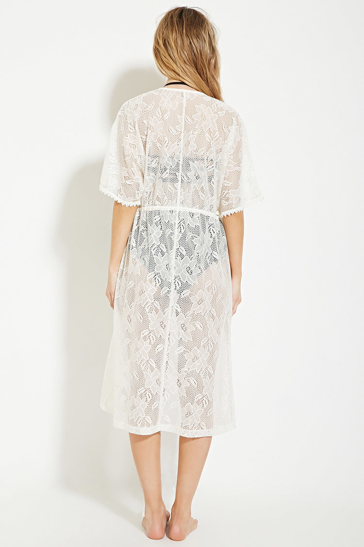 0608dafe31 Lyst - Forever 21 Floral Lace Swim Cover-up in White