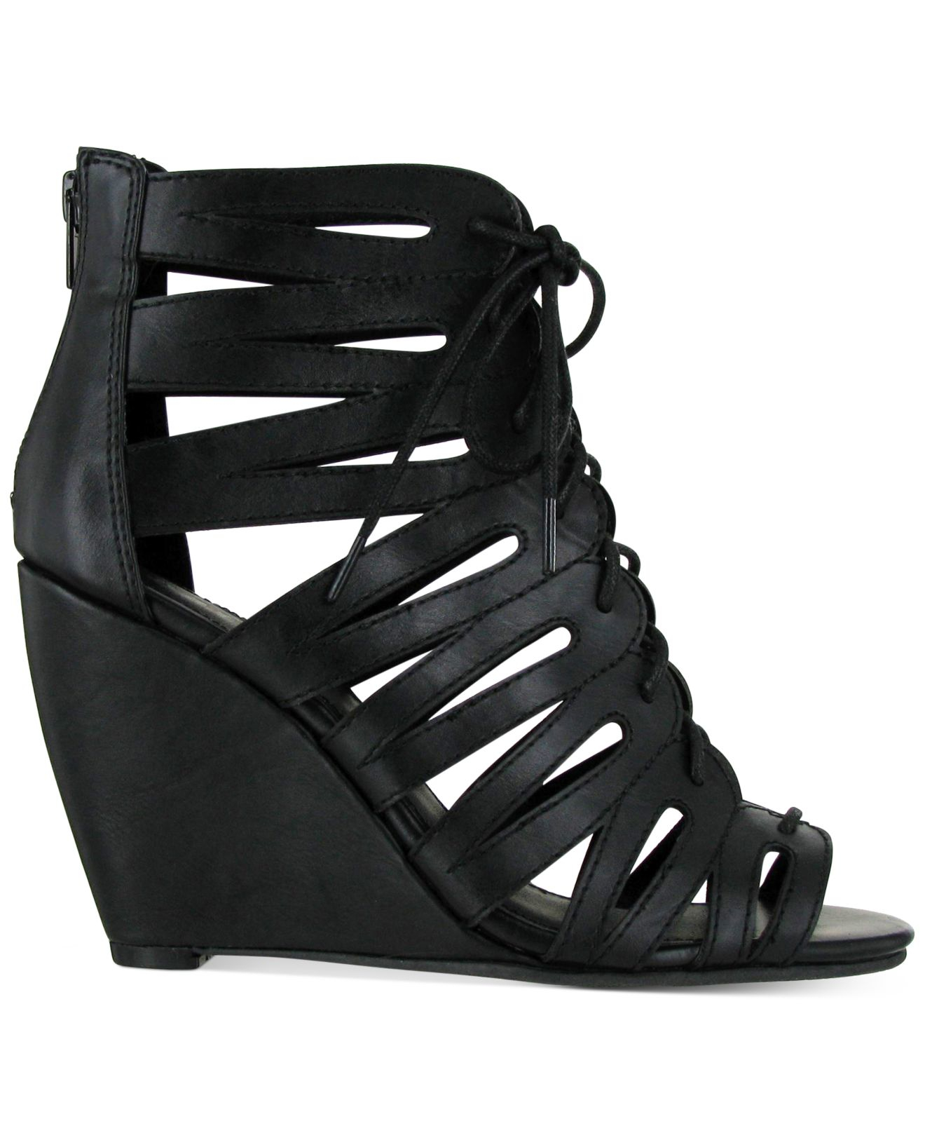 Mia Issy Lace Up Wedge Sandals In Black Lyst
