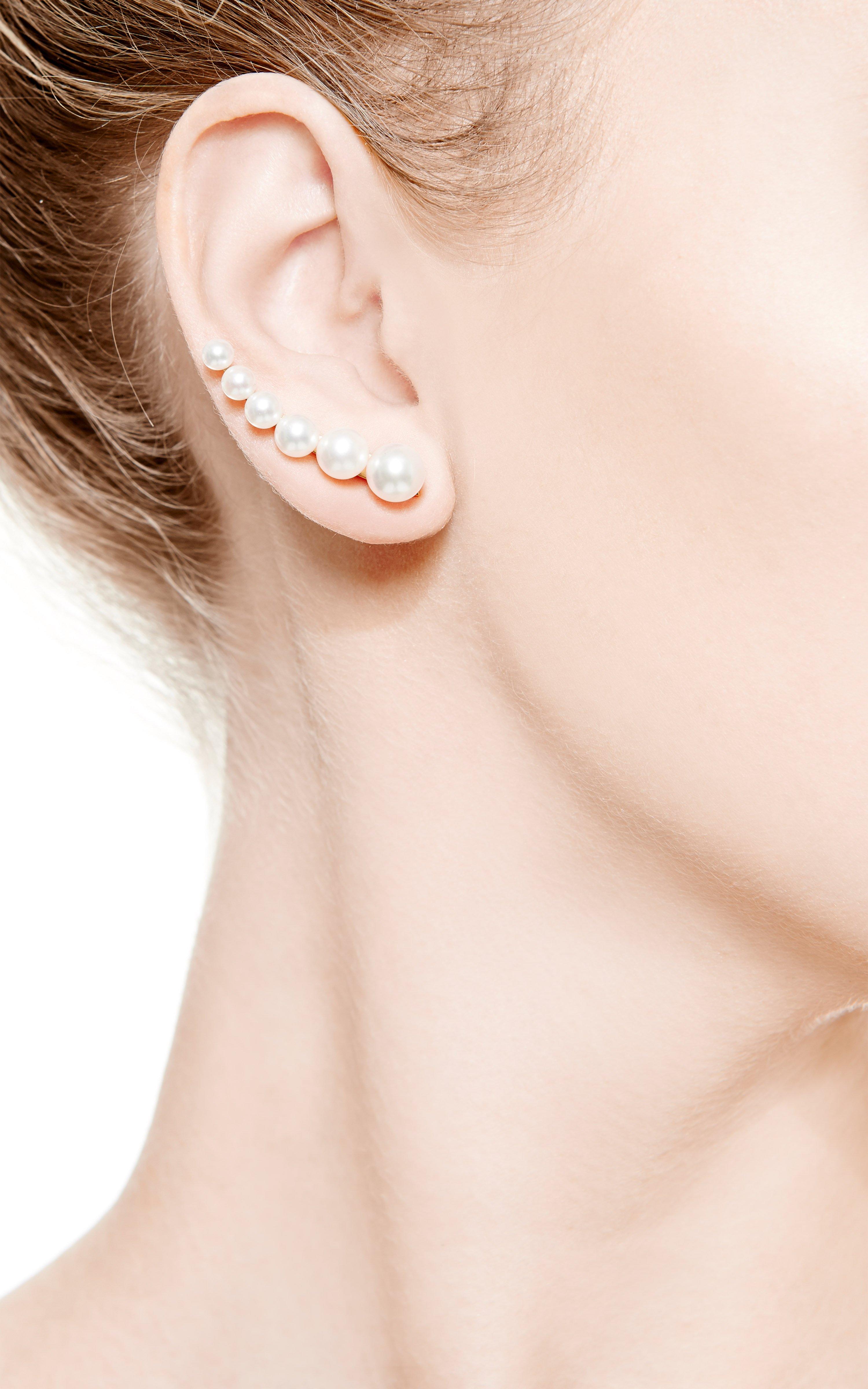 5ec5376ea286c Sophie Bille Brahe Metallic Croissant De Perle Earring For Right Ear