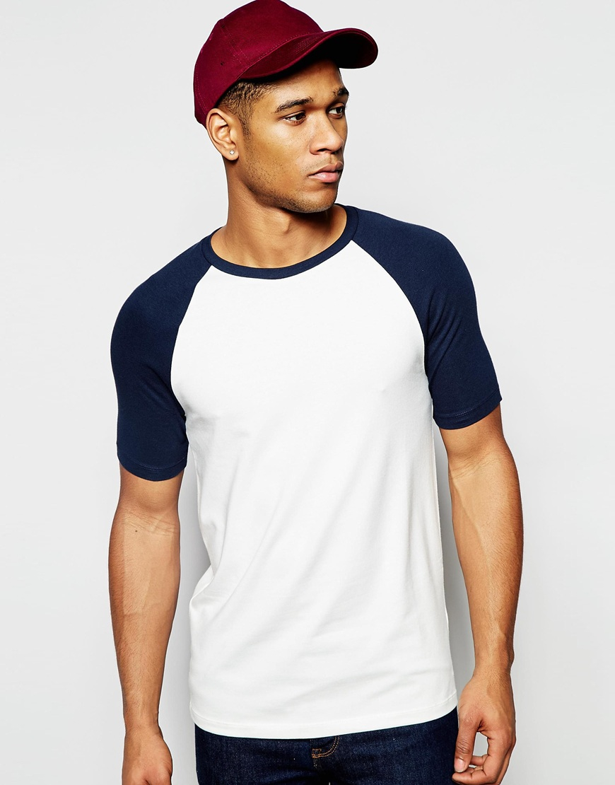 asos t shirt with contrast raglan sleeves in black