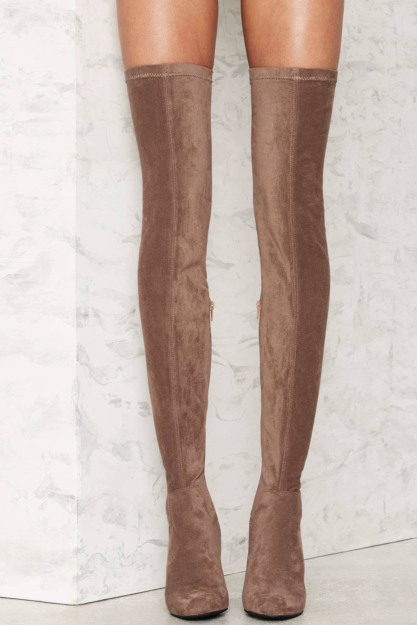 Lyst Jeffrey Campbell Perouze Thigh High Boot Taupe In