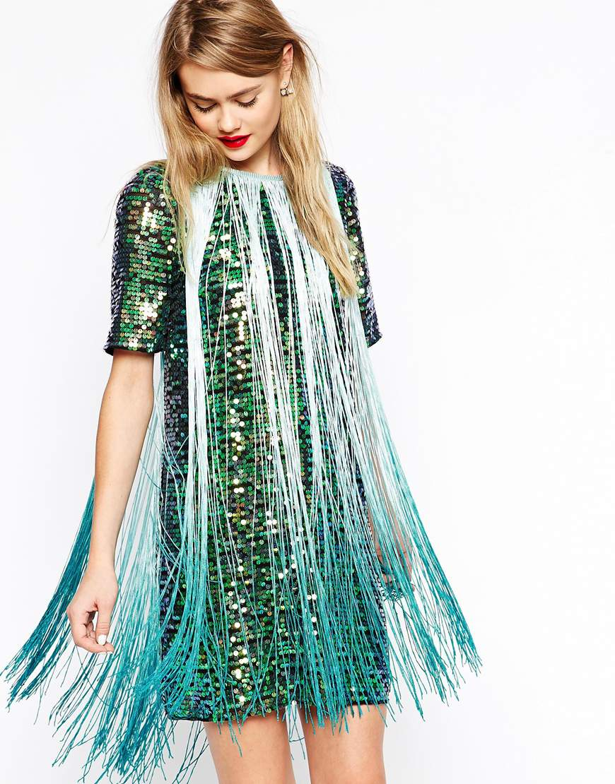 Lyst - Asos T-shirt Sequin Fringe Dress