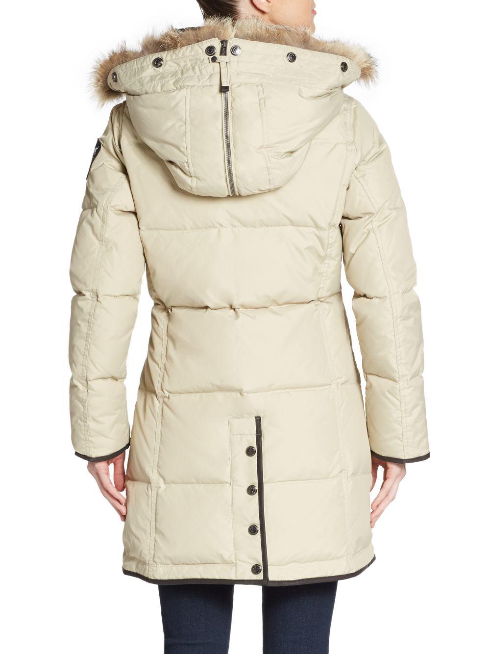 Lyst Pajar Cougar Fur Trimmed Puffer Coat In Natural
