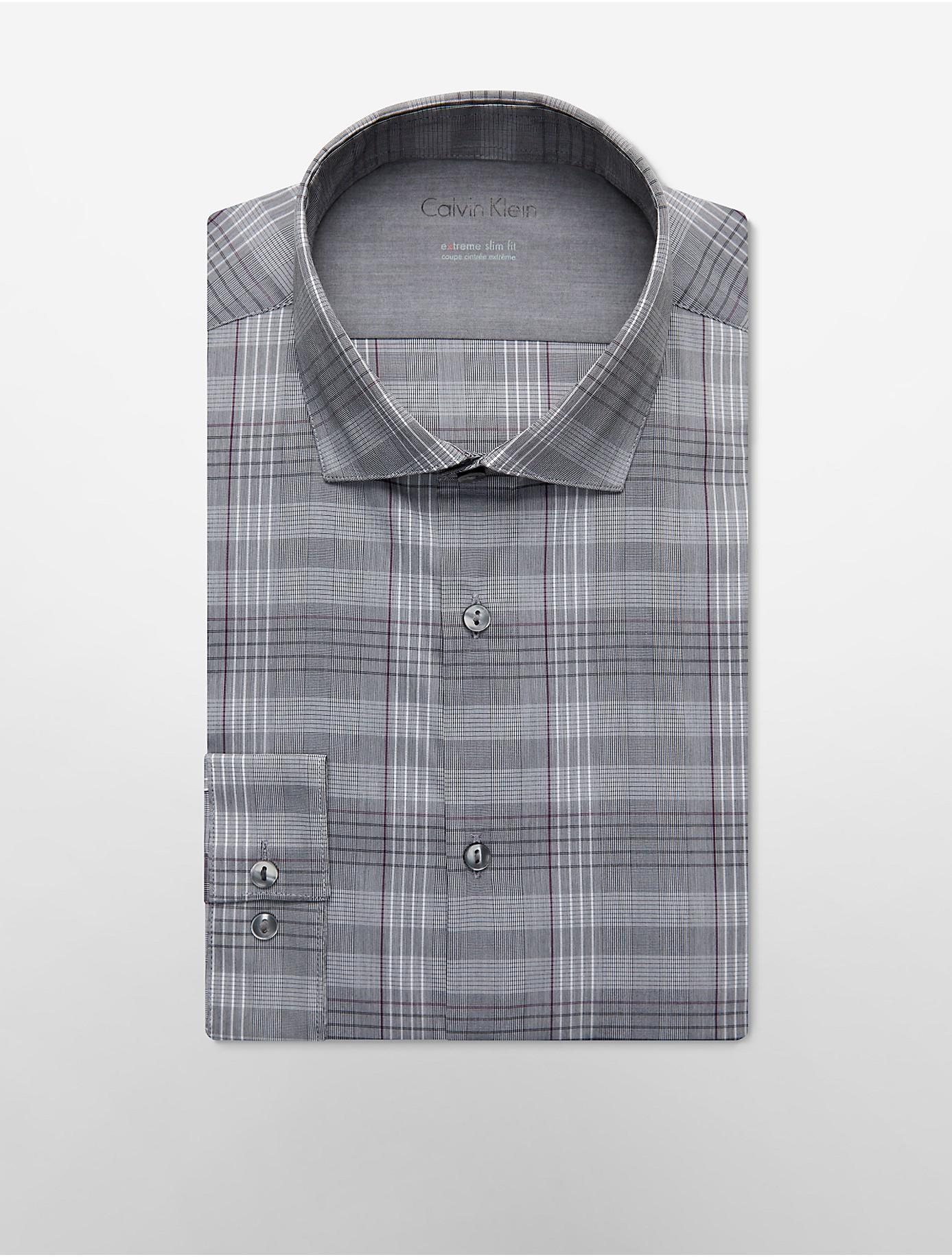 Calvin klein white label x fit ultra slim fit grey wine for Calvin klein x fit dress shirt