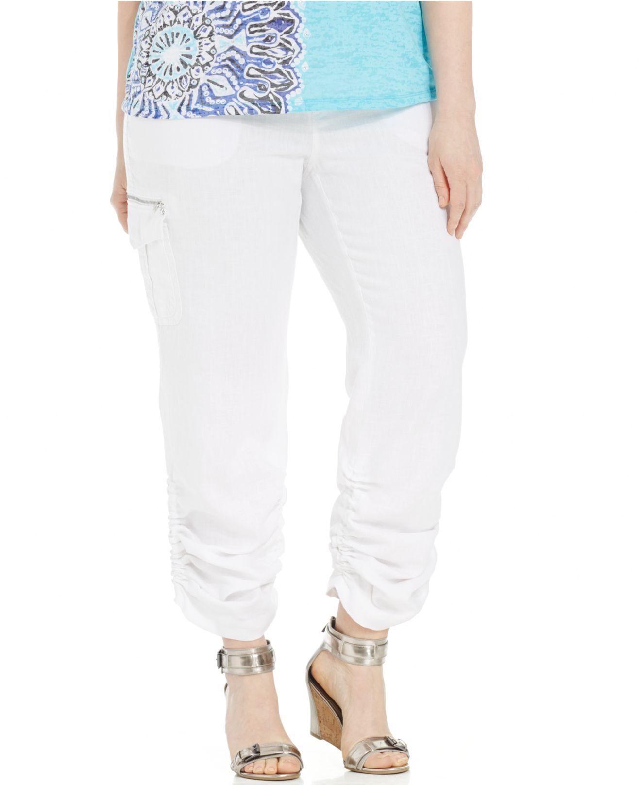 e08e7c57338 Lyst - INC International Concepts Plus Size Linen Ruched Cargo Pants ...