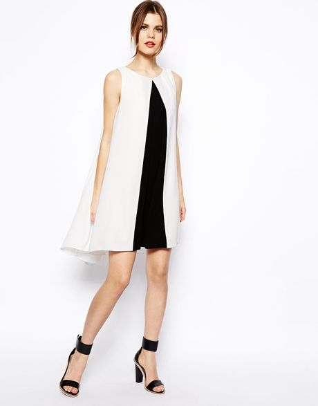 asos swing dress with contrast and dip hem 3