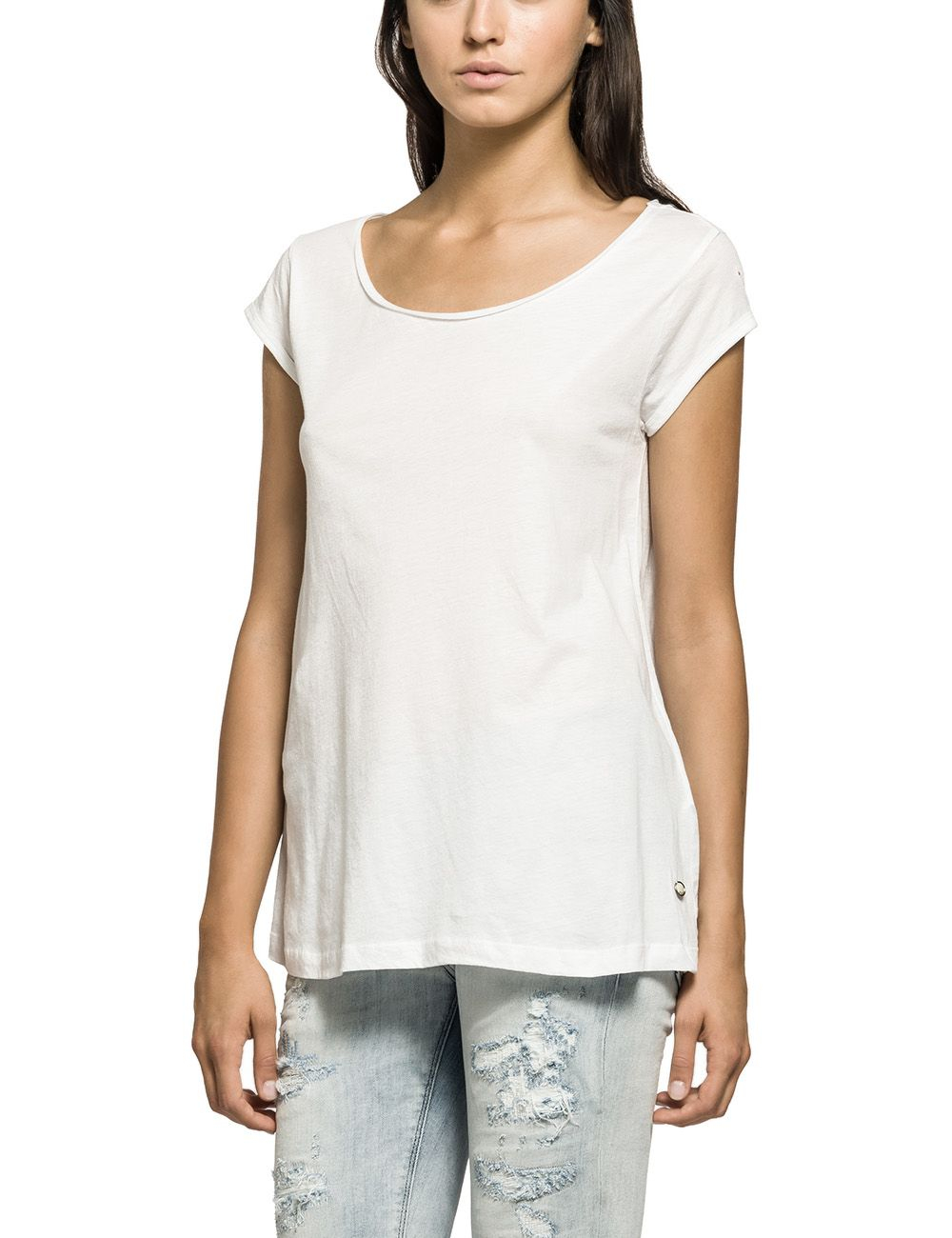 replay cotton t shirt in white lyst. Black Bedroom Furniture Sets. Home Design Ideas