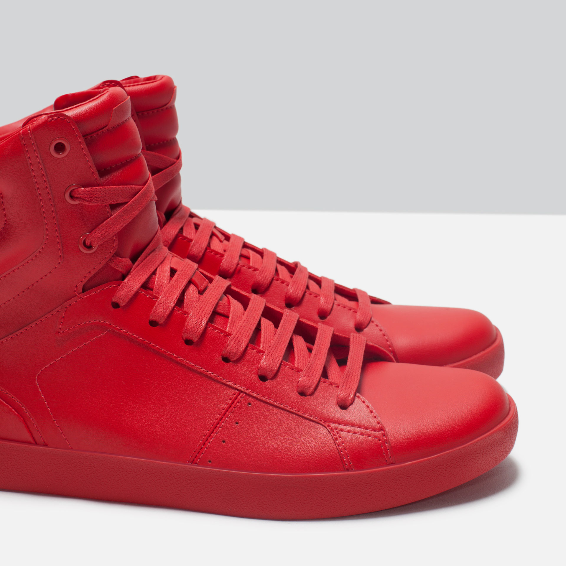 Zara Quilted Faux-Leather High-Top Sneakers in Red for Men ...