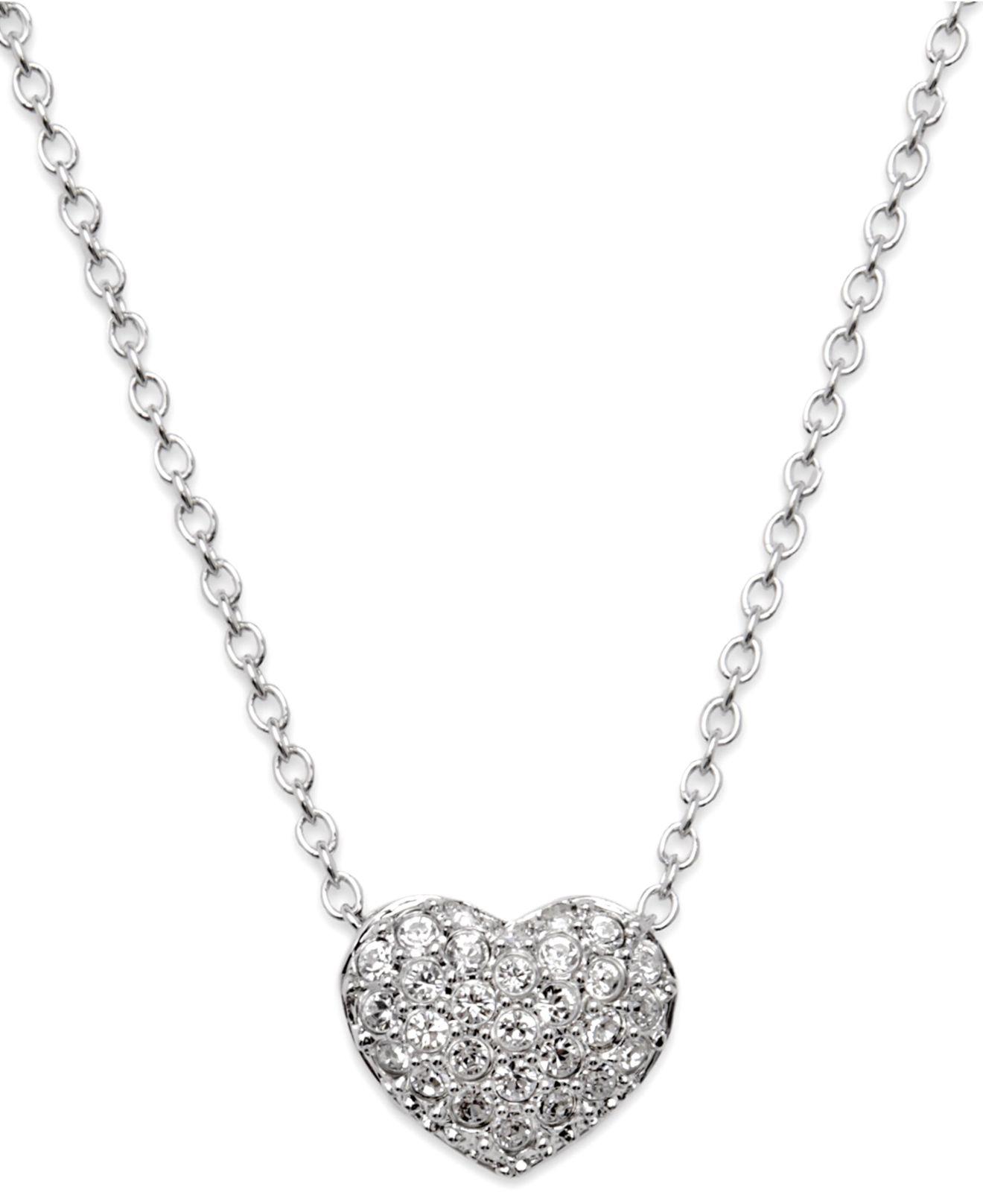 swarovski necklace crystal heart pendant in silver lyst. Black Bedroom Furniture Sets. Home Design Ideas
