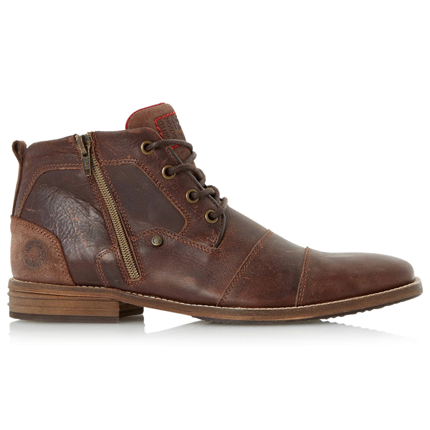 dune captain toe cap detail leather boots in brown