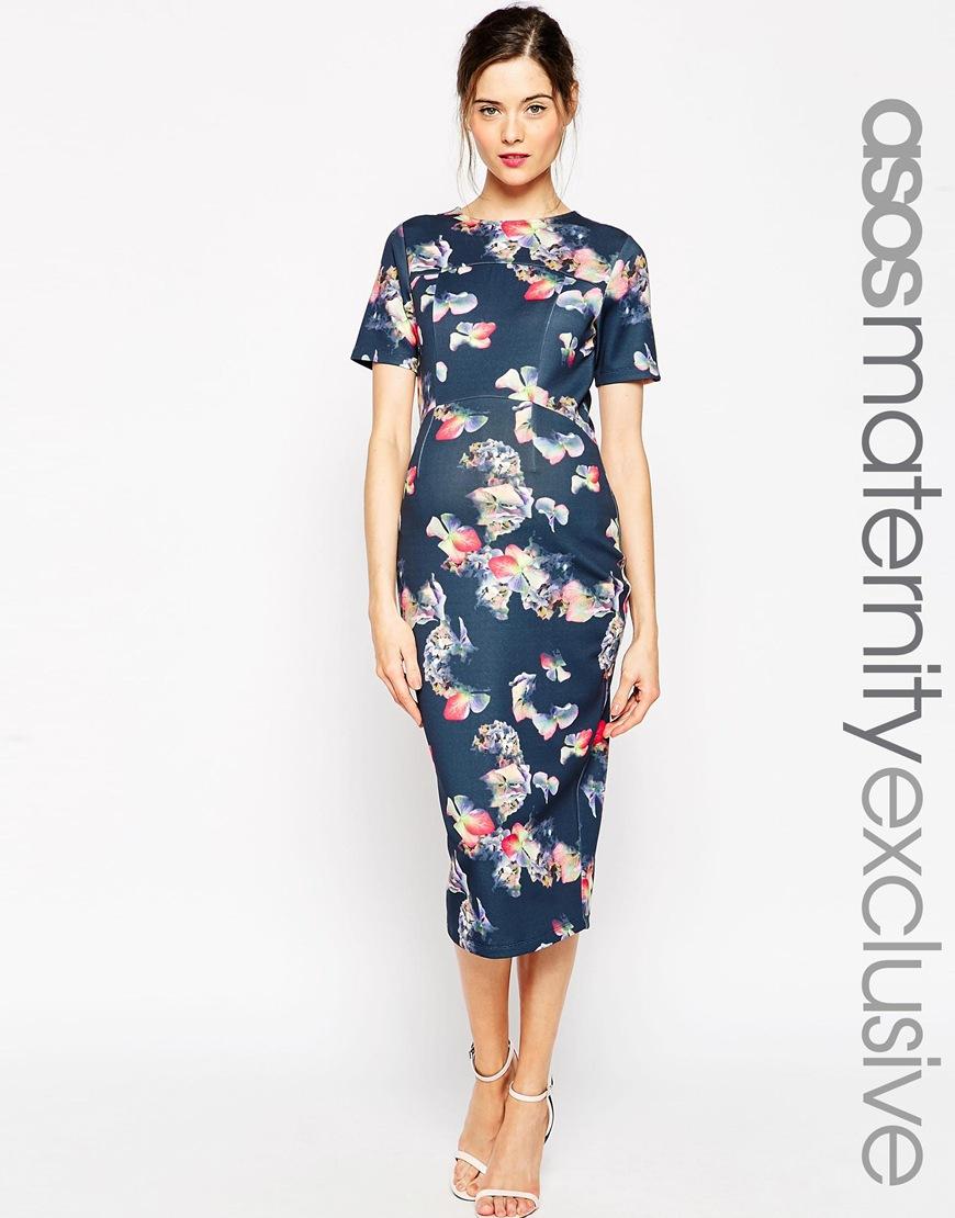 8cc1af8c3664 ASOS Scuba Midi Bodycon Dress In Bright Floral Print - Multi in Blue ...