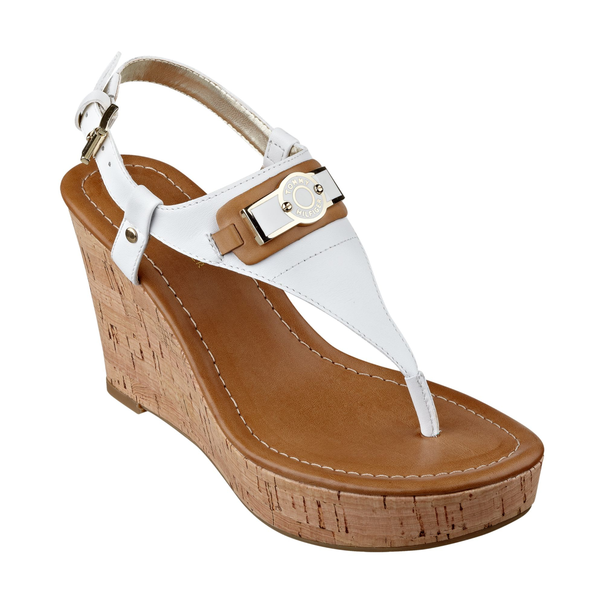 Lyst - Tommy Hilfiger Womens Monor Platform Wedge Thong Sandals in White