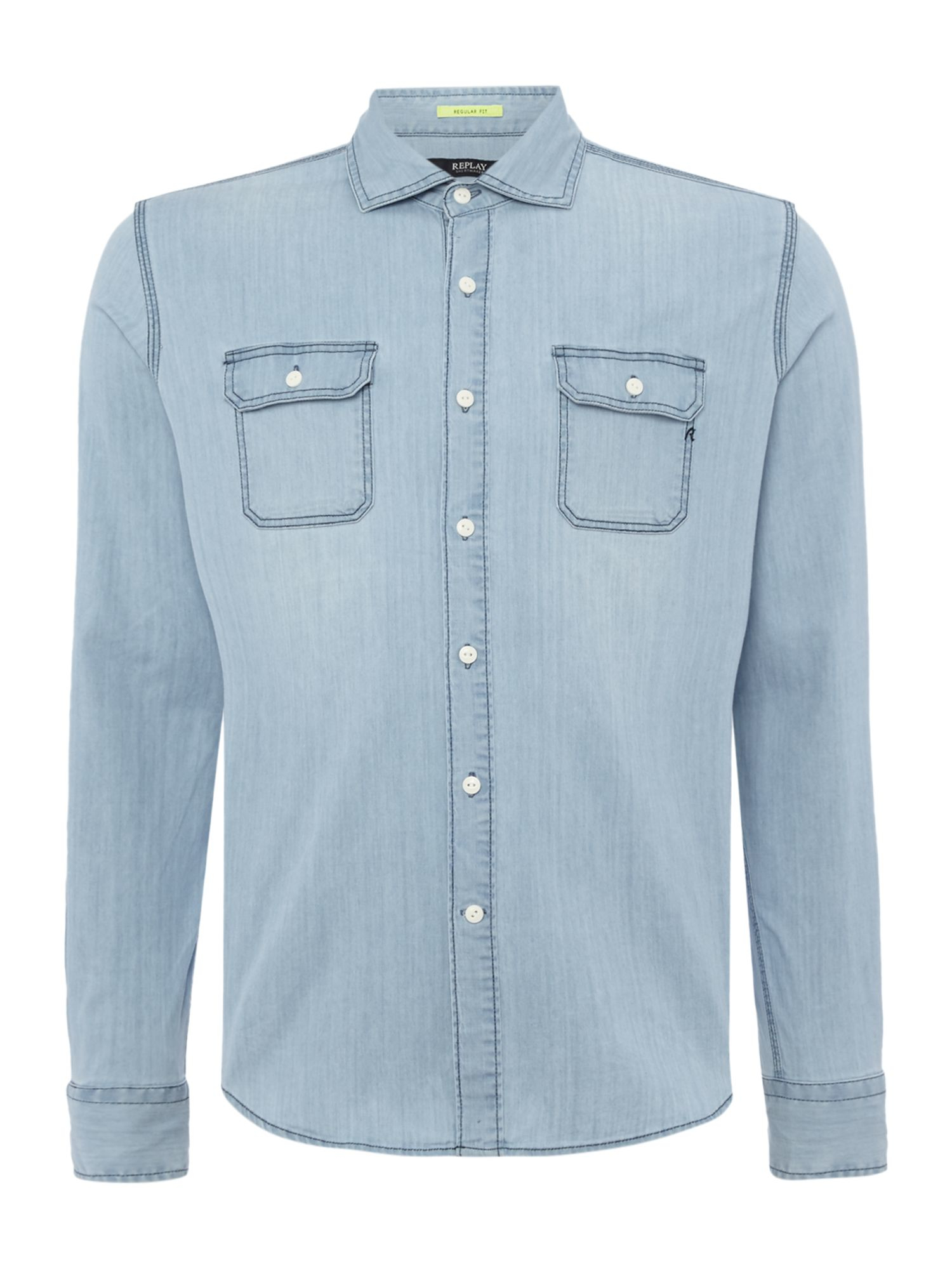 Lyst replay stretch denim shirt in blue for men for Replay blue jeans t shirt