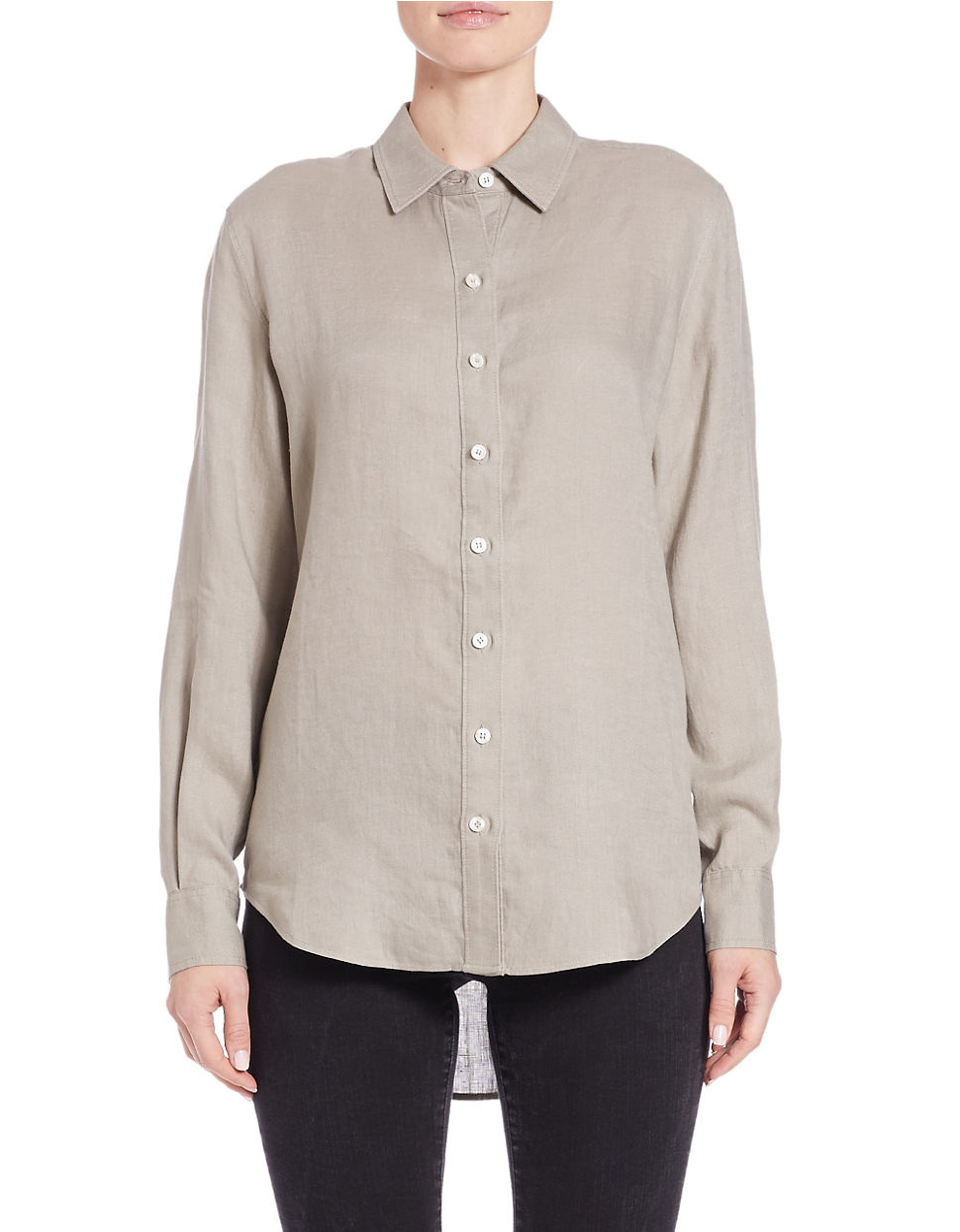 lord taylor linen hi low dress shirt in gray lyst