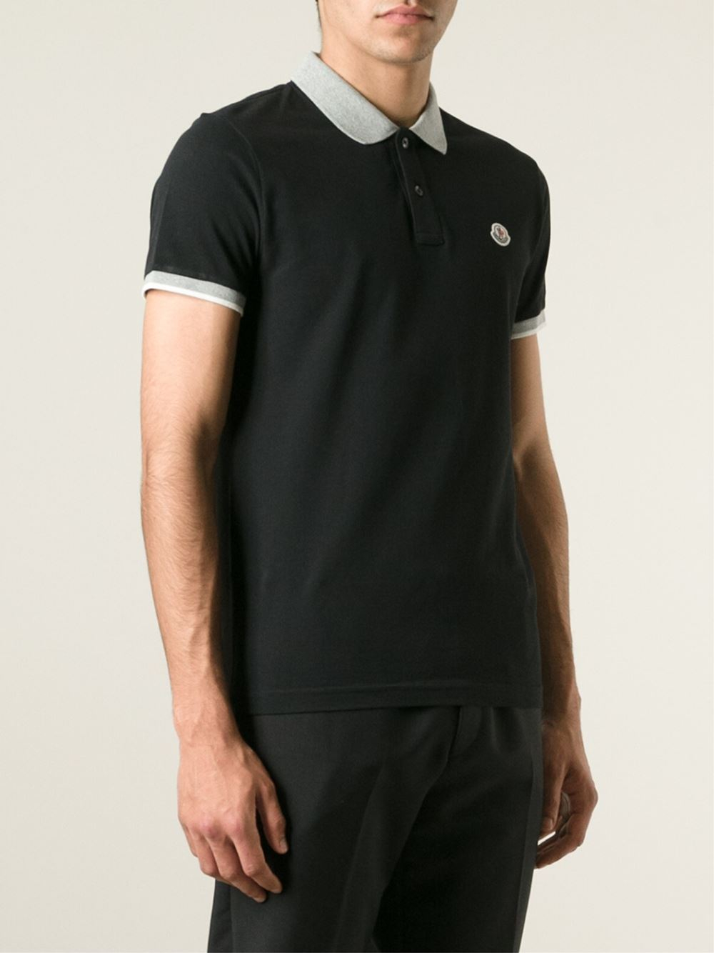 Moncler Contrast Collar Polo Shirt In Black For Men Lyst