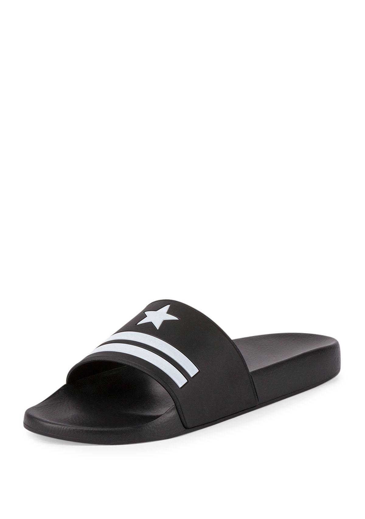 88ea2d1536f Lyst - Givenchy Star   Stripe Rubber Slide Sandals in Black for Men