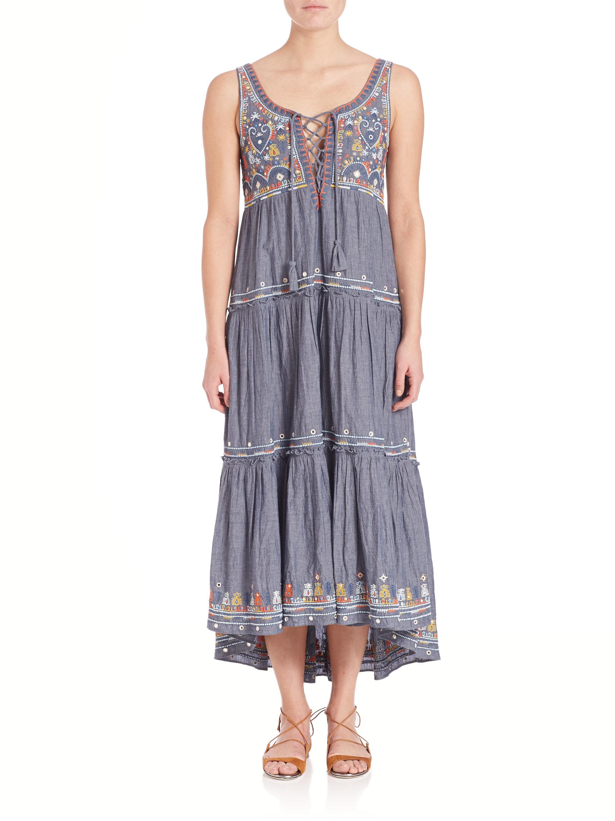 Lyst Calypso St Barth Jimena Embroidered Chambray Dress