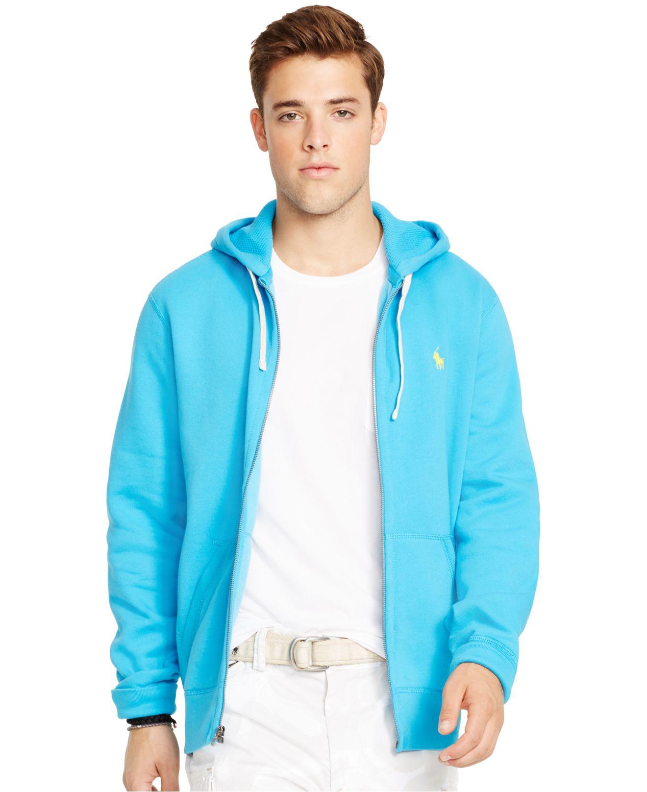 Zip Polo Ralph Lauren Hoodie Men Classic For Fleece Blue Full CxerBdo