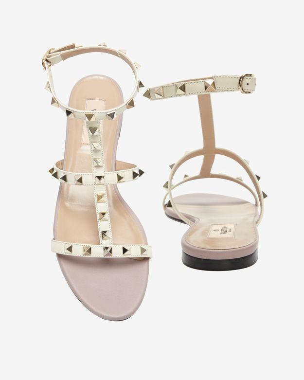 buy \u003e valentino flat studded sandals