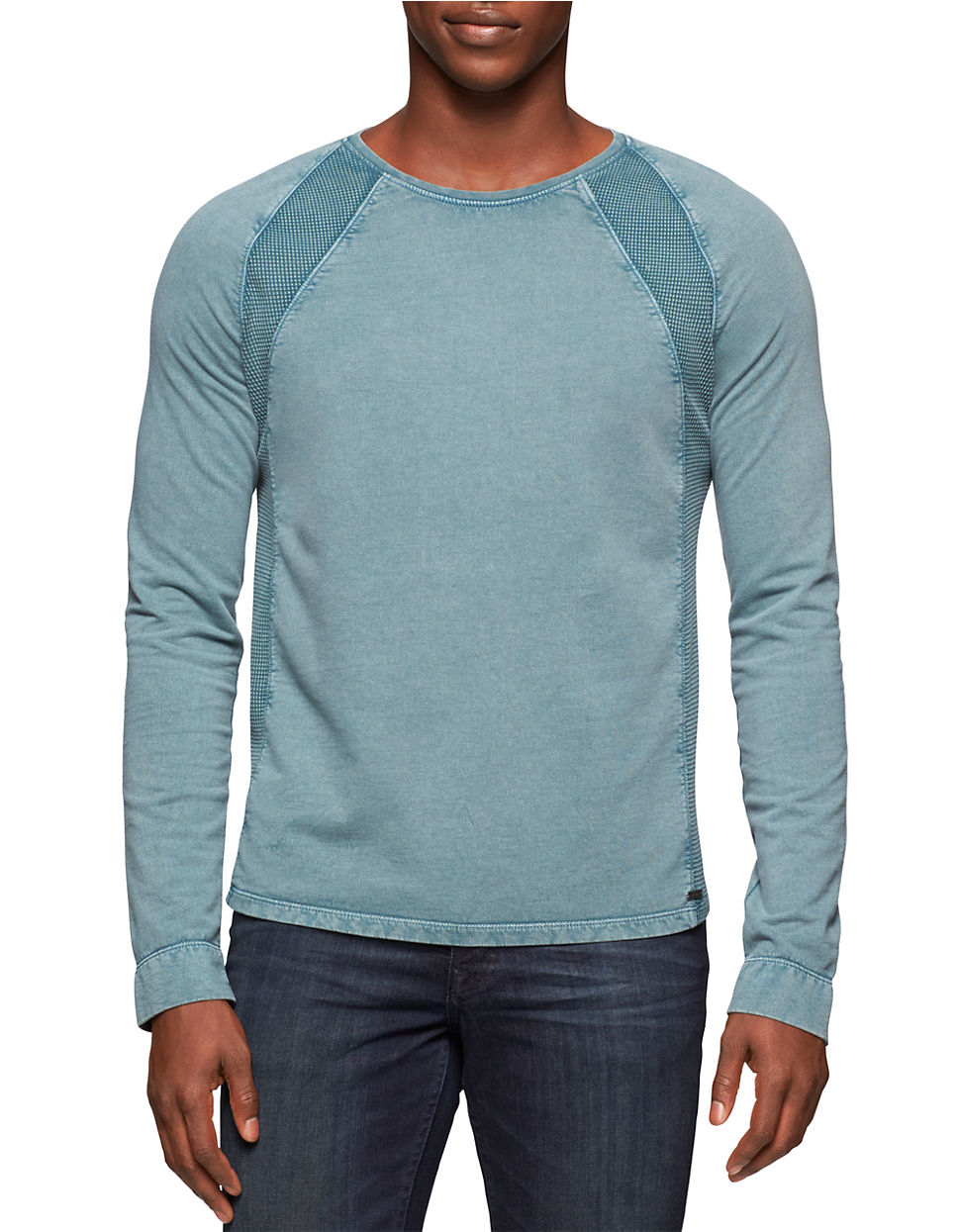 calvin klein jeans acid wash pullover in blue for men blue dust lyst. Black Bedroom Furniture Sets. Home Design Ideas