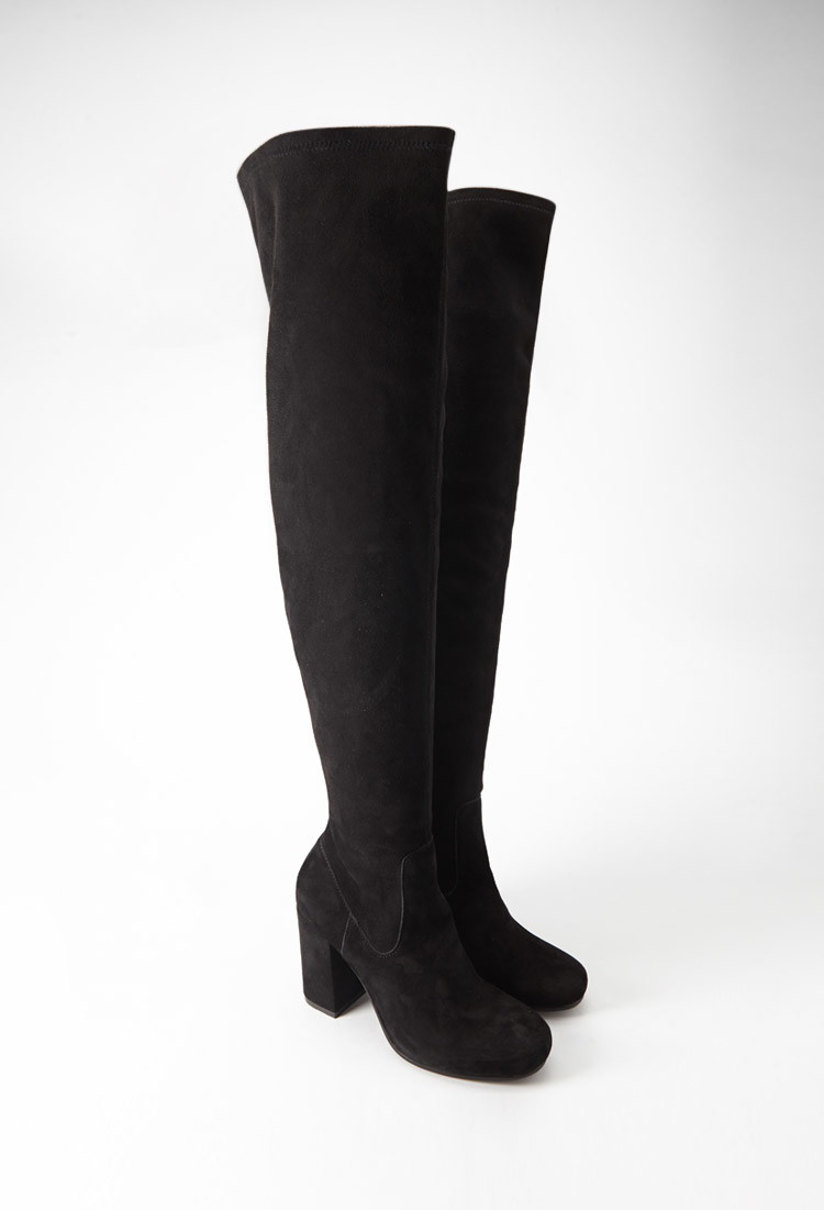 7f3499b14a4 Lyst - Forever 21 Over-the-knee Genuine Suede Boots in Black