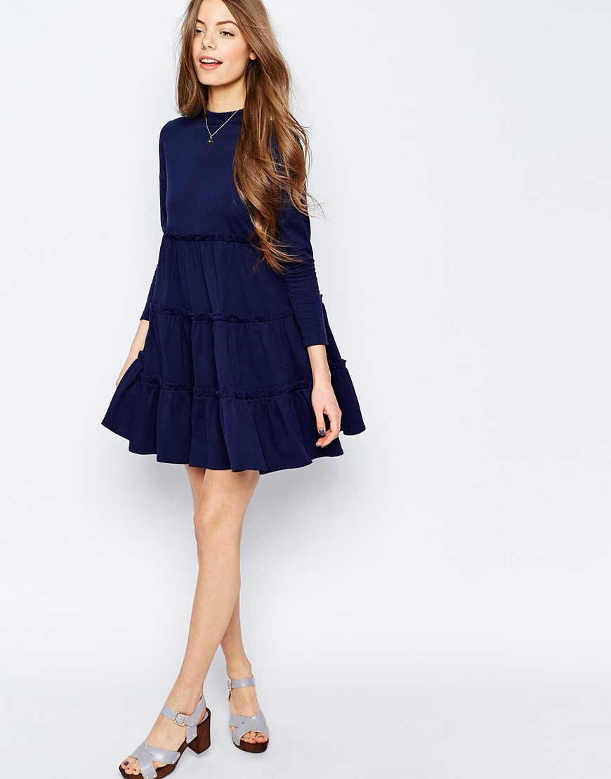 Asos Tiered Swing Dress in Blue | Lyst