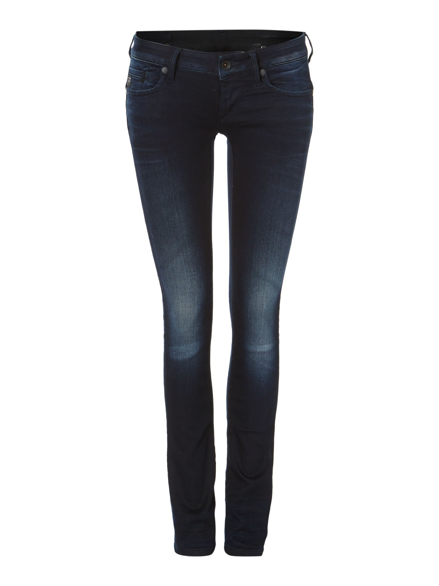 star raw midge straight jeans in slander navy in blue navy lyst. Black Bedroom Furniture Sets. Home Design Ideas