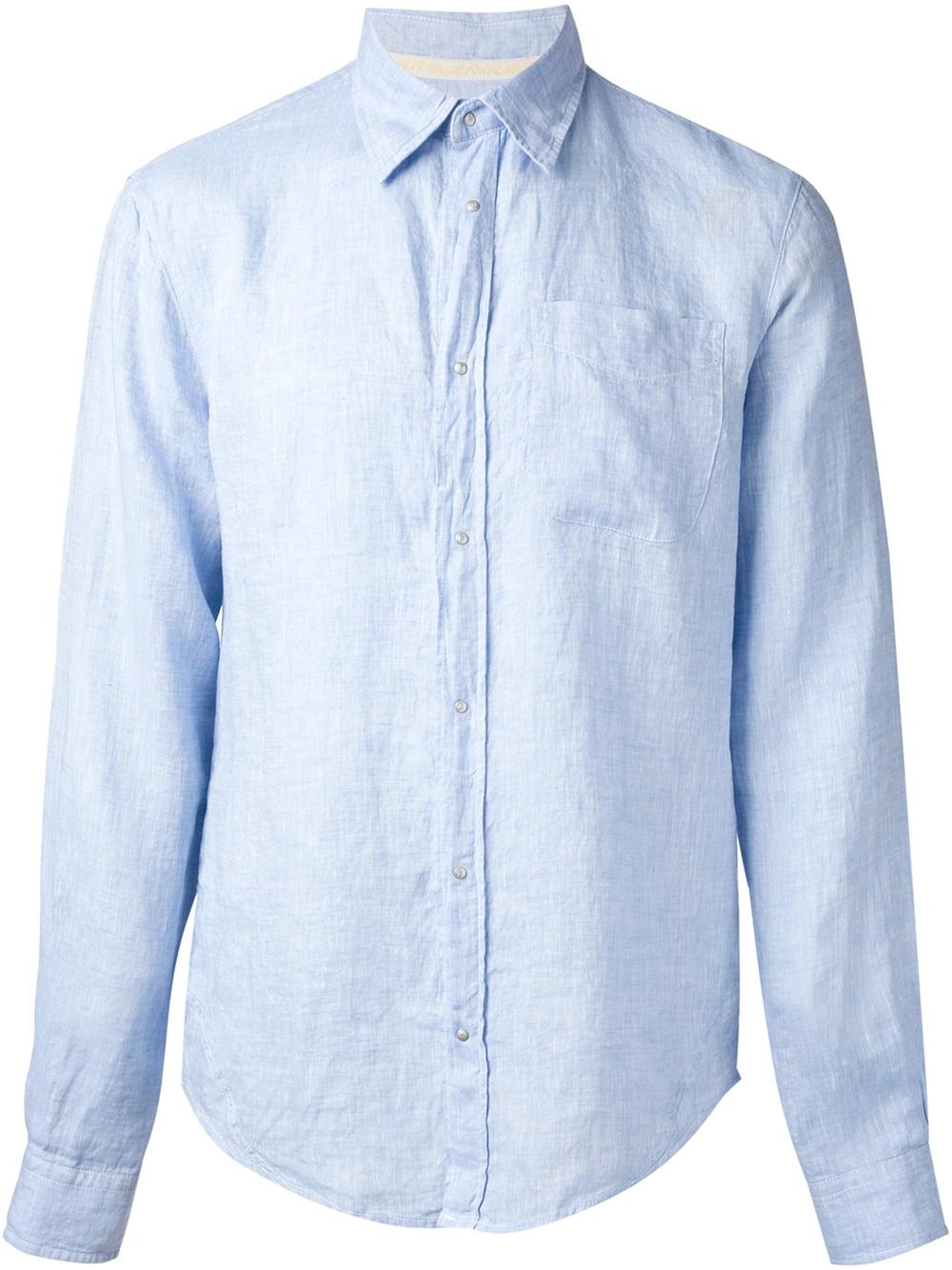 Armani Jeans Press Stud Fastening Shirt In Blue For Men Lyst