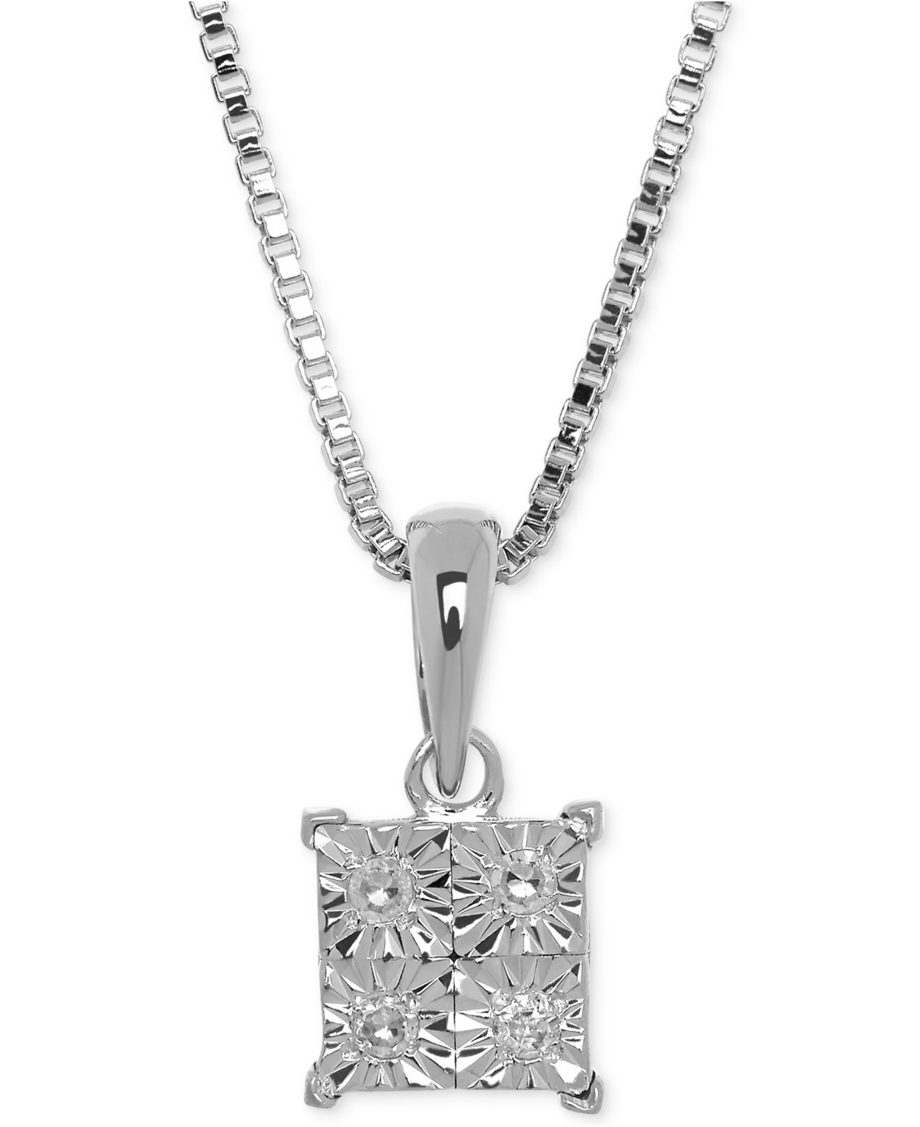 macys jewelry macy s accent pendant necklace in sterling silver 3441
