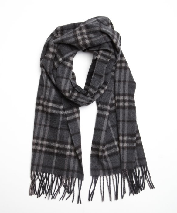 354d71cfcb11 ... discount lyst burberry dark charcoal check cashmere fringe scarf in  gray 8b53c 35819