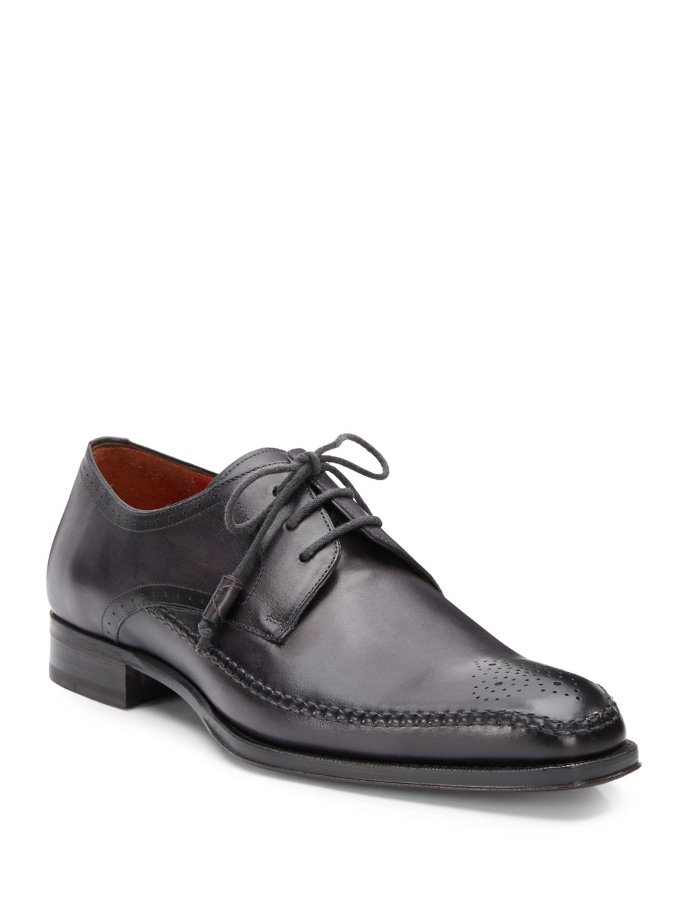 Mezlan Fontana Perforated Leather Laceup Shoes In Gray For